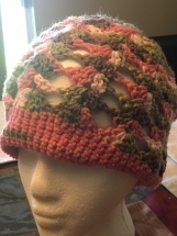 Crocheted Shells Beanie in Pink Camo Colors