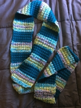 Multi-colored crocheted scarf and cowl set