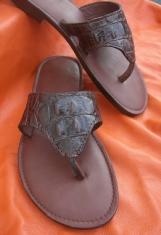 Custom Leather Sandals in Croc Print
