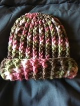 Crocheted Ribbed Baby Hat (0-3 months in pink camo)