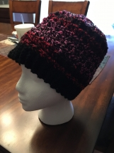 Crocheted Textured Messy Bun Hat (multi-colored pink)