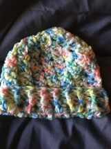 Light colors Crocheted Ribbed Baby Hat (3-6 months)