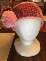 Crocheted Star Stitch Headband w/Pom Poms