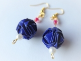 Dark Blue Origami Ball Earrings