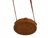 Handwoven Bali Oval Rattan Beach Bags with Button Clip, Handcrafted Shoulder bags, Original Leather Strap