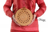 Handwoven Bali Round Rattan Bags with Round Bride Pattern, Leather Strap of handcrafted Shoulder Bags