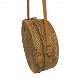 Handwoven Medium Bali Round Rattan Beach Bag with Button Clip