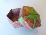 Origami Hexagonal Box - Dark Red