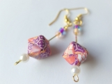Purple Brocade Origami Cube Earrings