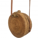 Rattan Bags for Women with Small Circle Leather Strapping Round Butterfly buckle