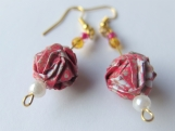 Red with White Flowers Origami Ball Earrings
