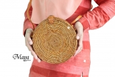 Star Pattern Handwoven Medium Bali Round Rattan Beach Bag with Button Clip