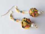 Yellow Brocade Ball Earrings