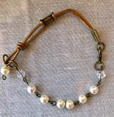 Handcrafted Swarovski Pearl And Copper Leather Bracelet