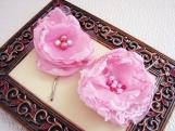 Chiffon Flower Hair Pins in Blushing Princess Pink