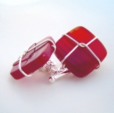 sterling silver wired gemstone cufflinks