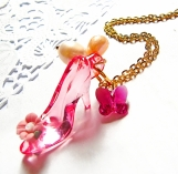 Cinderella Love with Pearl & Swarovski Crystal Pendant Necklace