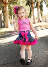 """Rock Princess"" Girl's Recycled Denim Petti Skirt"