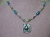 Blue Necklace and Earring Set with Shell Charm