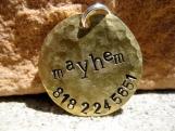 The Mayhem - Distressed Handstamped Pet ID Tag Brass Small Dog