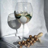 Live Love Laugh Wine Glass, Handpainted & Dishwasher Safe!