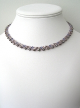 Purple Swarovski crytal and fresh water pearl necklace