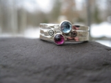 Mothers Stacking Rings. sterling & birthstones. inscribed bands