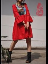 Patchwork loose linen dress