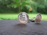 Geek Love . Sterling Silver Cuff Links . Binary Code Inscription