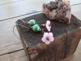 On Sale!! Pink Blossoms Long Dangle Earrings on Copper