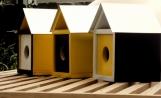 Mid Century Modern Trio of Goldfinch Birdhouses