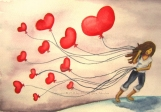 Red Heart Balloon Watercolor Print - The LOVE We Keep - 8 x 10