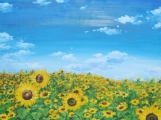 """""""Sunflowers Field with Blue Sky"""" Acrylic Painting on Canvas"""