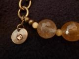 Bronze Bracelet with Quartz Faceted Stones and Cat's Eye Stones