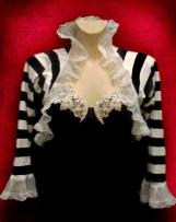 Victorian Wrap Shrug Bolero, Black Stripes, Tim Burton inspired