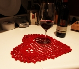 """Valentine's Day Home Decor - Crocheted Table Cover """"Red Heart"""""""