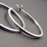 Hammered Sterling Hoop Earrings - Medium