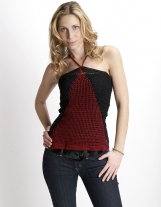 Hand-Crocheted Black & Burgundy Woman's Casual Top