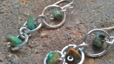 Descending Hoops and Turquoise dangle earrings Aluminum