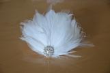 Bridal Feather Fascinator, Wedding Hair Accessory, Bridal Clip