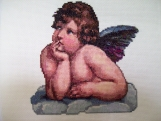 Completed Cross Stitch Picture of a Cherub (Angel)