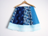 Hippie Patchwork Skirt, Blues Spinner Panel with Eyelet Ruffle