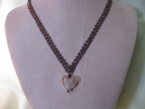 Purple Beaded and Pink Heart Pendant Necklace