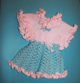 Pink and Blue Hand-knitted Dress for 2-3 year old Girl