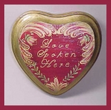 """Hand Painted """"Love Spoken Here""""  Heart Shape Wood Sign"""