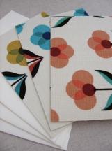 Fabric Postcards - Set of 3 - Retro 3 petal flowers in 3 colors