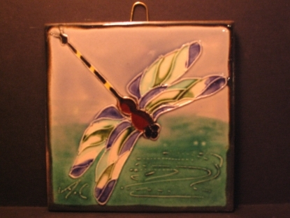 Handmade Dragonfly Tile - Tube lined by Alison Contardi