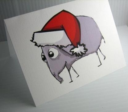 Elephant - Handmade Christmas Card by Skribbly