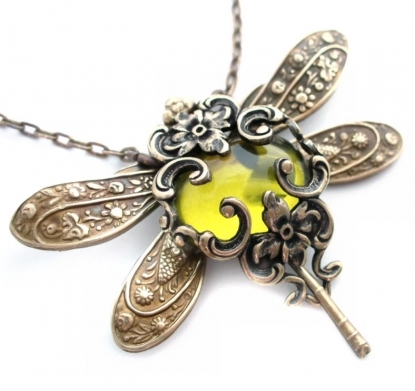 Olive Divine - Jeweled Dragonfly Art Necklace by FiligraneEpochJewels