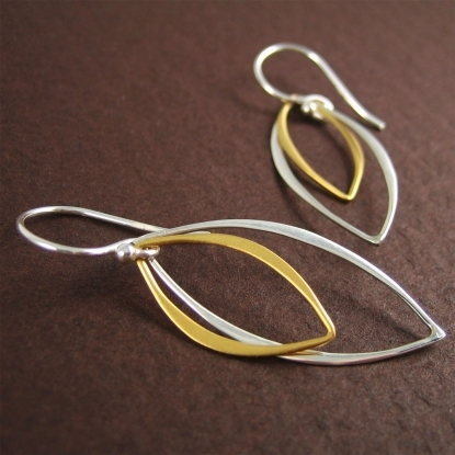 Beautiful Sterling Silver and Gold Earrings by DistinQue.